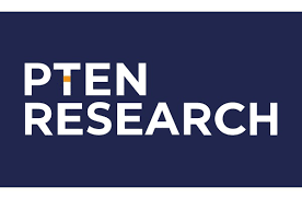"Blue box with the text ""PTEN RESEARCH"" in capital letter inside it."